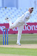 Scott Borthwick of Durham bowling from the Pavilion End during the LV= Insurance County Championship match between Nottinghamshire County Cricket Club and Durham County Cricket Club at Trent Bridge, Nottingham, United Kingdom on 10 April 2021.