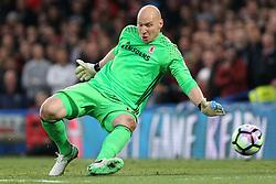 8 May 2017 - Premier League Football - Chelsea v Middlesbrough<br /> Boro goalkeeper Brad Guzan makes a save<br /> Photo: Charlotte Wilson