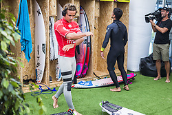 October 25, 2017 - Julian Wilson (AUS) and Gabriel Medina (BRA) finalist of the Meo Rip Curl Pro 2017, Peniche, Portugal..MEO Rip Curl Pro Portugal 2017, Oeste Subregion, Portugal - 25 Oct 2017 (Credit Image: © Rex Shutterstock via ZUMA Press)