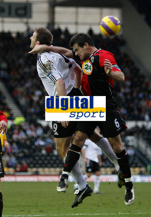 Photo: Steve Bond/Sportsbeat Images.<br /> Derby County v Blackburn Rovers. The FA Barclays Premiership. 30/12/2007. Ryan Nelson (R) and Steve Howard (L) challange in the air