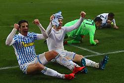 """Foto Filippo Rubin<br /> 03/03/2018 Ferrara (Italia)<br /> Sport Calcio<br /> Spal - Bologna - Campionato di calcio Serie A 2017/2018 - Stadio """"Paolo Mazza""""<br /> Nella foto: SERGIO FLOCCARI (SPAL) E JASMIN KURTIC (SPAL)<br /> <br /> Photo by Filippo Rubin<br /> March 03, 2018 Ferrara (Italy)<br /> Sport Soccer<br /> Spal vs Bologna - Italian Football Championship League A 2017/2018 - """"Paolo Mazza"""" Stadium <br /> In the pic: SERGIO FLOCCARI (SPAL) AND JASMIN KURTIC (SPAL)"""