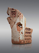 Hittite terra cotta fragmants of a defenive wall tower shaped vessel . Hittite Period, 1600 - 1200 BC.  Hattusa Boğazkale. Çorum Archaeological Museum, Corum, Turkey .<br />  <br /> If you prefer to buy from our ALAMY STOCK LIBRARY page at https://www.alamy.com/portfolio/paul-williams-funkystock/hittite-art-antiquities.html  - Type Hattusa into the LOWER SEARCH WITHIN GALLERY box. Refine search by adding background colour, place,etc<br /> <br /> Visit our HITTITE PHOTO COLLECTIONS for more photos to download or buy as wall art prints https://funkystock.photoshelter.com/gallery-collection/The-Hittites-Art-Artefacts-Antiquities-Historic-Sites-Pictures-Images-of/C0000NUBSMhSc3Oo
