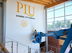 Construction to house nursing in the former Garfield Book store, Tuesday, July 28, 2020, at PLU. (Photo/John Froschauer)