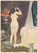 The Dressing Room 1898 by Charles Maurin (French, 1856-1914) France, 19th century Etching and aquatint. Standing Nude woman in her dressingroom as seen from behind