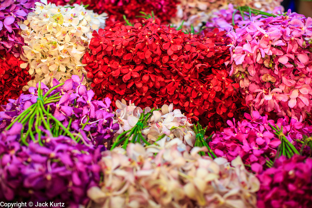 19 OCTOBER 2012 - BANGKOK, THAILAND:   Fresh cut ornamental flowers in the Bangkok Flower Market. The Bangkok Flower Market (Pak Klong Talad) is the biggest wholesale and retail fresh flower market in Bangkok.  The market is busiest between 3:30AM and 6AM. Thais grow and use a lot of flowers. Some, like marigolds and lotus, are used for religious purposes. Others are purely ornamental.     PHOTO BY JACK KURTZ