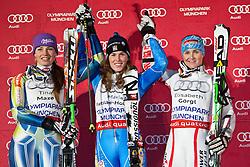 02.01.2011, Olympia Rondell, Muenchen, GER, FIS World Cup Ski Alpin, Lady, Paralell Slalom, im Bild das Podium v.l. Tina Maze (SLO, #3) Platz 2, Maria Pietilae-Holmner (SWE, #9) Platz 1 und Elisabeth Goergl (AUT, #4) Platz 3. EXPA Pictures © 2011, PhotoCredit: EXPA/ J. Groder