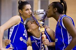 Ivona Matic, Iva Ciglar and Nikya Hughes of Celje kissing the Cup at finals match of Slovenian 1st Women league between KK Hit Kranjska Gora and ZKK Merkur Celje, on May 14, 2009, in Arena Vitranc, Kranjska Gora, Slovenia. Merkur Celje won the third time and became Slovenian National Champion. (Photo by Vid Ponikvar / Sportida)