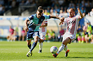 Wycombe Wanderers Paris Cowan-Hall(12) takes on Stevenage Dylan O'Donnell during the EFL Sky Bet League 2 match between Wycombe Wanderers and Stevenage at Adams Park, High Wycombe, England on 5 May 2018. Picture by Alistair Wilson.