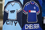 Chelsea vs Manchester City half and half scarfs on sale before k/o. The Emirates FA Cup, 5th round match, Chelsea v Manchester city at Stamford Bridge in London on Sunday 21st Feb 2016.<br /> pic by John Patrick Fletcher, Andrew Orchard sports photography.