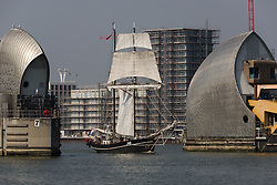 © Licensed to London News Pictures. 15/06/2016. LONDON, UK.  The historic tall ship, Jantje passes through the Thames Barrier on the River Thames. The Sail Royal Greenwich Tall Ship Festival runs until this Sunday, 18th Septmeber.  Photo credit: Vickie Flores/LNP
