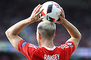 Aaron Ramsey of Wales takes a throw-in. UEFA Euro 2016, last 16 , Wales v Northern Ireland at the Parc des Princes in Paris, France on Saturday 25th June 2016, pic by  Andrew Orchard, Andrew Orchard sports photography.