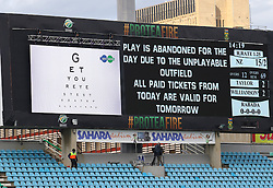 Official announcement during day four of the first test match between South Africa and New Zealand held at the Kingsmead stadium in Durban, KwaZulu Natal, South Africa on the 22nd August 2016<br /> <br /> Photo by:   Anesh Debiky / Real Time Images