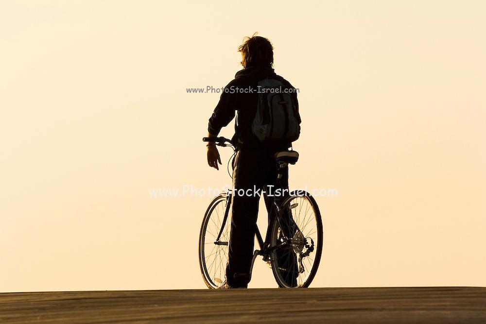 bike rider at Sunset