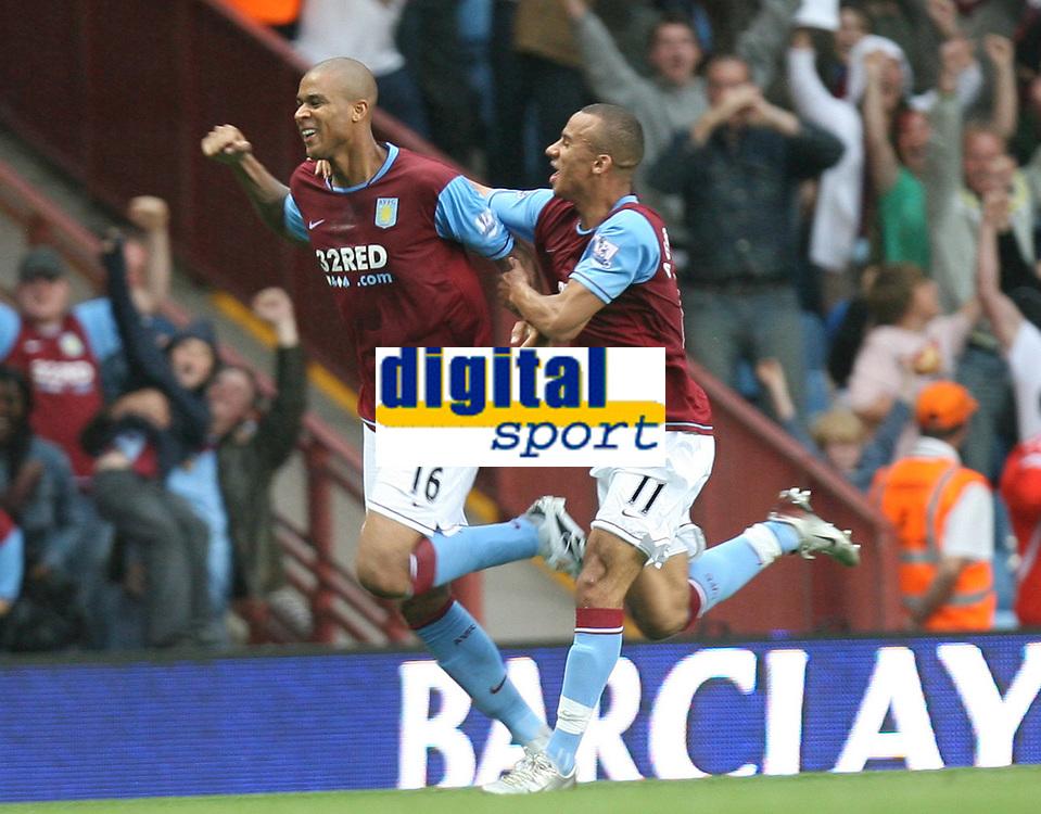 Photo: Rich Eaton.<br /> <br /> Aston Villa v Chelsea. The FA Barclays Premiership. 02/09/2007. Aston Villa's Zak Knight scores on his Villa Park debut to give Villa a 1-0 lead.