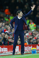 West Ham United Manager Slaven Bilic shouts instructions from the technical area. Premier League match, Liverpool v West Ham Utd at the Anfield stadium in Liverpool, Merseyside on Sunday 11th December 2016.<br /> pic by Chris Stading, Andrew Orchard sports photography.