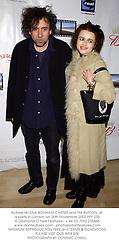 Actress HELENA BONHAM-CARTER and TIM BURTON, at a party in London on 26th November 2002.PFP 235