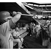 Matt Carpenter, St. Louis Cardinals, in the dugout preparing to bat during the New York Mets Vs St. Louis Cardinals MLB regular season baseball game at Citi Field, Queens, New York. USA. 18th May 2015. Photo Tim Clayton