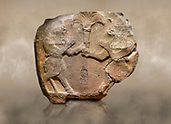 Photo of Hittite monumental relief sculpted orthostat stone panel from Water Gate Basalt, Karkamıs, (Kargamıs), Carchemish (Karkemish), 900-700 B.C.  Anatolian Civilisations Museum, Ankara, Turkey.<br /> <br /> Two bull-men holding the trunk of the tree in the middle. The faces of the figures, having tufts in both temples over the chain, have been depicted from the front direction. The horned figures with bull-like ears and legs have human bodies. <br /> <br /> On a brown art background. .<br />  <br /> If you prefer to buy from our ALAMY STOCK LIBRARY page at https://www.alamy.com/portfolio/paul-williams-funkystock/hittite-art-antiquities.html  - Type  Karkamıs in LOWER SEARCH WITHIN GALLERY box. Refine search by adding background colour, place, museum etc.<br /> <br /> Visit our HITTITE PHOTO COLLECTIONS for more photos to download or buy as wall art prints https://funkystock.photoshelter.com/gallery-collection/The-Hittites-Art-Artefacts-Antiquities-Historic-Sites-Pictures-Images-of/C0000NUBSMhSc3Oo