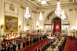 General view of US President Donald Trump, Queen Elizabeth II and guests during the State Banquet at Buckingham Palace, London, on day one of President Trump's three day state visit to the UK.