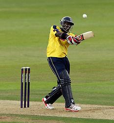 Hampshire's Michael Carberry pulls - Photo mandatory by-line: Robbie Stephenson/JMP - Mobile: 07966 386802 - 03/07/2015 - SPORT - Cricket - Southampton - The Ageas Bowl - Hampshire v Glamorgan - Natwest T20 Blast