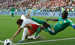 MOSCOW, June 19, 2018  Sadio Mane (R) of Senegal vies with Thiago Cionek of Poland during a Group H match between Poland and Senegal at the 2018 FIFA World Cup in Moscow, Russia, June 19, 2018. Senegal won 2-1. (Credit Image: © Xu Zijian/Xinhua via ZUMA Wire)
