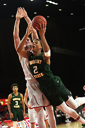 November 14, 2017 - Oxford, Ohio, U.S - Wright State Raiders forward Everett Winchester (2) put up a lay up pass Miami (Oh) Redhawks forward Logan McLane (11). During  play in Overtime on Tue Nov 14, 2017 as the Redhawks  in 73 to 67 in Over time. (Credit Image: © Ernest Coleman via ZUMA Wire)