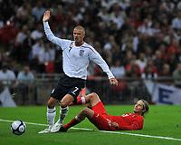 Photo: Tony Oudot/Richard Lane Photography.  England v Czech Republic. International match. 20/08/2008. <br /> David Beckham of England is challenged by Jaroslav Plasil of Czech Republic
