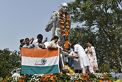 October 2, 2018 - Guwahati, Assam, India - President of Assam Pradesh Congress Committee Ripun Bora along with Congress worker paying homage to Mahatma Gandhi on the occasion of his birth anniversary at Gandhi Mandap, in Guwahati, Assam, India on Tuesday, October 2, 2018. (Credit Image: © David Talukdar/NurPhoto/ZUMA Press)