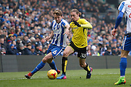 Burton Albion midfielder Jackson Irvine (36) battles for possession with Brighton & Hove Albion central midfielder Dale Stephens (6) during the EFL Sky Bet Championship match between Brighton and Hove Albion and Burton Albion at the American Express Community Stadium, Brighton and Hove, England on 11 February 2017. Photo by Richard Holmes.