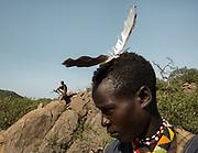 Hunting with Kanga, Ngosha and Mahiya (feather in hair). At and near the Hadza camp of Dedauko.