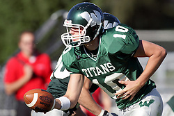 04 October 2008: Kraig Ladd in a battle between the Carthage Red Men and the Illinois Wesleyan University Titans, Game action was at Wilder Field on the campus of Illinois Wesleyan University in Bloomington Illinois.