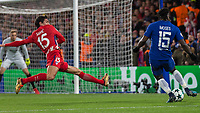 Football - 2017 / 2018 UEFA Champions League - Group C: Chelsea vs. Atletico Madrid<br /> <br /> Stefan Savic (Atletico Madrid) stretches to prevent Victor Moses (Chelsea FC)  crossing the ball at Stamford Bridge.<br /> <br /> COLORSPORT/DANIEL BEARHAM