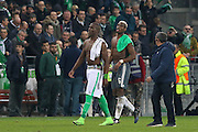 Brothers Saint-Etienne Defender Florentin Pogba and Paul Pogba Midfielder of Manchester United leave the pitch  during the Europa League match between Saint-Etienne and Manchester United at Stade Geoffroy Guichard, Saint-Etienne, France on 22 February 2017. Photo by Phil Duncan.