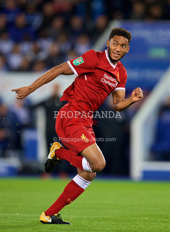 LEICESTER, ENGLAND - Tuesday, September 19, 2017: Liverpool's Joe Gomez during the Football League Cup 3rd Round match between Leicester City and Liverpool at the King Power Stadium. (Pic by David Rawcliffe/Propaganda)