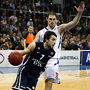 Anadolu Efes's Sasha Vujacic (L) and CSKA Moscow's Nenad Krstic (R) during their Euroleague Top 16 game 8 basketball match Anadolu Efes between CSKA Moscow at the Abdi Ipekci Arena in Istanbul at Turkey on Friday, February, 22, 2013. Photo by TURKPIX