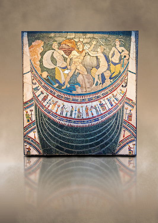 4th Century AD Roman Opus Sectile Mosaic depicting nymphs from the basilica de Giunio Basso .  Museo Nazionale Romano ( National Roman Museum), Rome, Italy. Against an art background. .<br /> <br /> If you prefer to buy from our ALAMY PHOTO LIBRARY  Collection visit : https://www.alamy.com/portfolio/paul-williams-funkystock/national-roman-museum-rome-mosaic.html <br /> <br /> Visit our ROMAN ART & HISTORIC SITES PHOTO COLLECTIONS for more photos to download or buy as wall art prints https://funkystock.photoshelter.com/gallery-collection/The-Romans-Art-Artefacts-Antiquities-Historic-Sites-Pictures-Images/C0000r2uLJJo9_s0