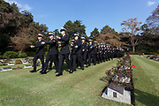 Canadian sailors from Naval frigate HMCS Calgary at the Remembrance Sunday ceremony at the Hodogaya, Commonwealth War Graves Cemetery in Hodogaya, Yokohama, Kanagawa, Japan. Sunday November 11th 2018. The Hodagaya Cemetery holds the remains of more than 1500 servicemen and women, from the Commonwealth but also from Holland and the United States, who died as prisoners of war or during the Allied occupation of Japan. Each year officials from the British and Commonwealth embassies, the British Legion and the British Chamber of Commerce honour the dead at a ceremony in this beautiful cemetery. The year 2018 marks the centenary of the end of the First World War in 1918.