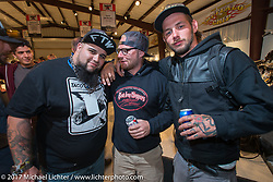 Show particpants and custom builders Kevin Taco Rodriguez, Jesse Srpan and Nick Pensabene at the Old Iron - Young Blood exhibition media and industry reception in the Motorcycles as Art gallery at the Buffalo Chip during the annual Sturgis Black Hills Motorcycle Rally. Sturgis, SD. USA. Sunday August 6, 2017. Photography ©2017 Michael Lichter.