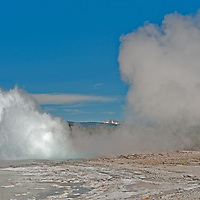 Fountain Geyser erupts at Lower Geyser Basin in Wyoming's Yellowstone National Park.