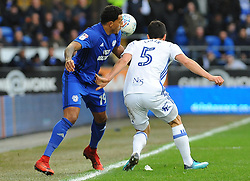 Nathaniel Mendez-Laing of Cardiff City battles with Maxime Colin of Birmingham City- Mandatory by-line: Nizaam Jones/JMP - 10/03/2018 -  FOOTBALL -  Cardiff City Stadium- Cardiff, Wales -  Cardiff City v Birmingham City - Sky Bet Championship