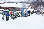 The start of the inaugural Skaidi Fat Bike Race, outside Skaidi Hotel, FInnmark, Norway.