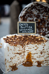 """© Licensed to London News Pictures. 22/03/2013. London, UK The french chef Romain Biesse's """"salted butter caramel nougat"""" cake during the three-day-long The Chocolate Festival at the Southbank Centre.  The Chocolate Festival returns to Southbank Centre in London for the 10th time. the festival runs from 22-24th March 2013. Photo credit : Peter Kollanyi/LNP"""