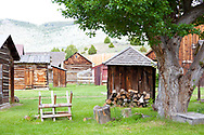 The historic town of Nevada City, Montana.  Pictured here is living history day, where people dress in period costume.