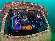 KISS Spirit and LungFish rebreather divers inside Silver Comet at Dutch Springs, Scuba Diving Resort in Pennsylvania