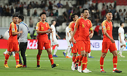 ABU DHABI, Jan. 11, 2019  Players of China react after winning the 2019 AFC Asian Cup UAE 2019 group C match between China and the Philippines in Abu Dhabi, the United Arab Emirates (UAE), Jan. 11, 2019. China won 3-0. (Credit Image: © Xinhua via ZUMA Wire)