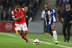 November 10, 2018 - Porto, Porto, Portugal - Porto's Algerian forward Yacine Brahimi (R) in action with Sporting Braga's Brazilian defender Marcelo Goiano (L) during the Premier League 2018/19 match between FC Porto and SC Braga, at Dragao Stadium in Porto on November 9, 2018. (Credit Image: © Dpi/NurPhoto via ZUMA Press)