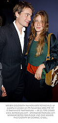 MR BEN GOLDSMITH the HON.KATE ROTHSCHILD, at a party in London on 7th November 2002.PFB 157