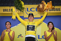 July 20, 2018 - Valence, FRANCE - British Geraint Thomas of Team Sky celebrates on the podium in the yellow jersey of leader in the overall ranking after the 13th stage in the 105th edition of the Tour de France cycling race, from Bourg d'Oisans to Valence (169,5 km), France, Friday 20 July 2018. This year's Tour de France takes place from July 7th to July 29th. BELGA PHOTO DAVID STOCKMAN (Credit Image: © David Stockman/Belga via ZUMA Press)