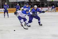 Maxim Semyonov of Kazakhstan vs Jan Urbas of Slovenia during Ice Hockey match between National Teams of Kazakhstan and Slovenia in Round #4 of 2018 IIHF Ice Hockey World Championship Division I Group A, on April 27, 2018 in Arena Laszla Pappa, Budapest, Hungary. Photo by David Balogh / Sportida