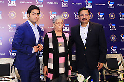 December 18, 2018 - Jaipur, Rajasthan, India - COA Member Diana Edulji (L), Mumbai Indians owner Akash Ambani (C) and CEO Kolkata Knight Riders (KKR) Venky Mysore (R) at a press conference for the Indian Premier League 2019 auction in Jaipur on December 18, 2018, as teams prepare their player rosters ahead of the upcoming Twenty20 cricket tournament next year. The 2019 edition of the IPL -- one of the world's most-watched sporting events attracting the world's top stars -- is set to take place in April and May next year.(Photo By Vishal Bhatnagar/NurPhoto) (Credit Image: © Vishal Bhatnagar/NurPhoto via ZUMA Press)